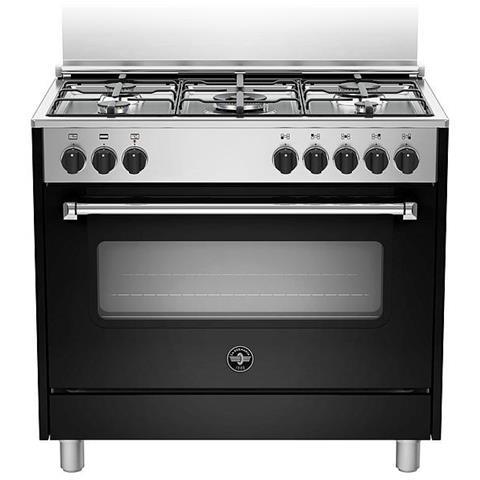 LA GERMANIA Cucina Elettrica AMN965ENEV 5 Fuochi a Gas Forno Elettrico  Classe A Dimensioni 90 x 60 cm Colore Nero Serie Americana