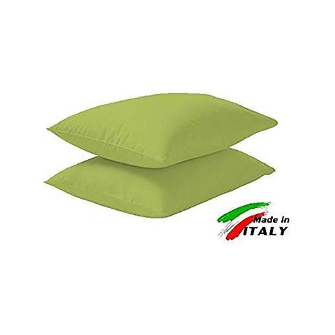 Cuscini Verde Acido.La Bottega Del Risparmio Coppia Di Federe Tinta Unita Cotone