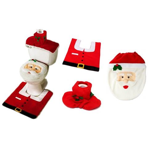Set Bagno Babbo Natale.Eglemtek Completo Da Bagno Natalizio Con Copriwater Di Babbo
