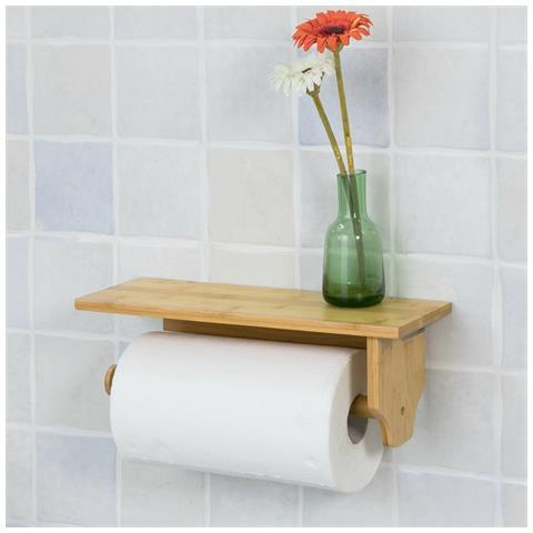 Porta Carta Igienica Da Muro.Sobuy Porta Carta Igienica Da Bagno Con Supporto Portarotolo A Muro Da Bagno Bambu Frg253 N