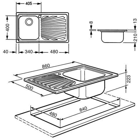 Misure Lavello Cucina Una Vasca.Smeg Sp861s Lavello Da Incasso In Acciaio Inox Satinato Con 1 Vasca Dimensioni 86 X 50 Cm Eprice