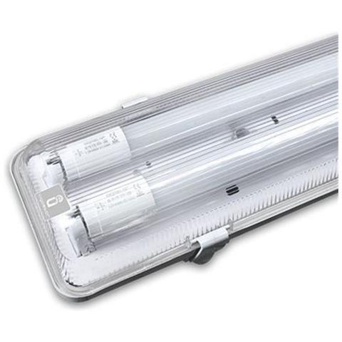 Plafoniere Per Esterno A Led.Aigostar Plafoniera Stagna 150 Cm Doppia Ip65 Esterno Tubi Neon Led T8 Impermeabile 179151