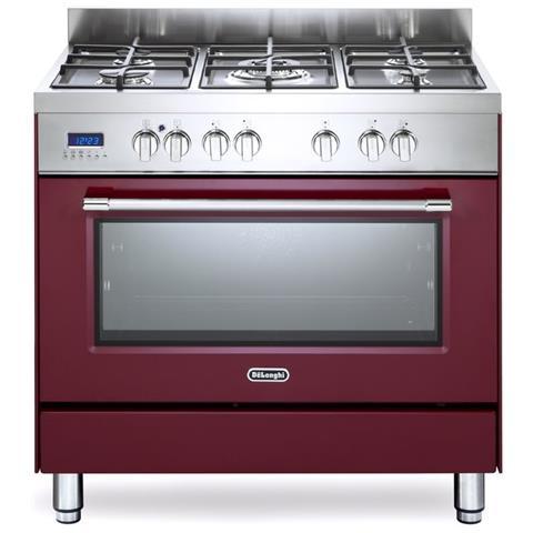 DE LONGHI Cucina Elettrica PRO 96 MR 5 Fuochi a Gas Forno Elettrico  Multifunzione Ventilato Classe A Dimensioni 90 x 60 cm Colore Inox / Rosso  ...