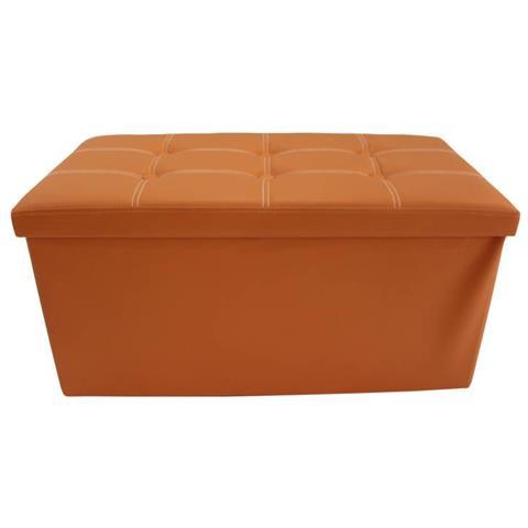 Mobili Rebecca ® Puffo Cubo Poggiapiedi Apribile Arancione Soggiorno Camera