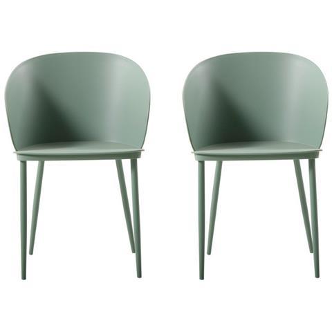 Homemania Set 2 Sedie Per Ufficio Soggiorno Cucina Dalis Verde Metallo- Per  Ufficio, Soggiorno, Sala Da Pranzo, Cucina, Camera Da Letto - Tavolo