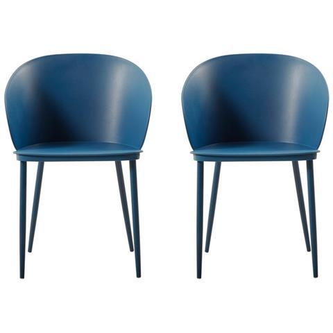 Homemania Set 2 Sedie Da Cucina Collezione Dalis Blu Scuro, Struttura in  Metallo e Rivestimento in Polipropilene.