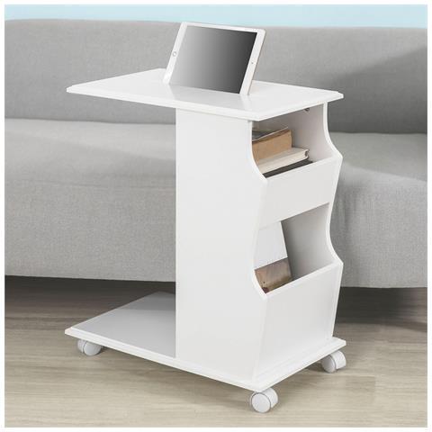 Tavolino Con Le Ruote.Sobuy Tavolino Da Divano Moderno Con Ruote E Porta Libri