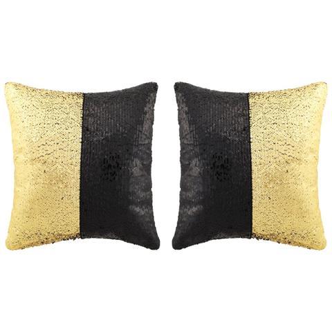 Cuscini Oro.Vidaxl Set Di Cuscini Con Paillettes 2 Pz 45x45 Cm Nero E Oro