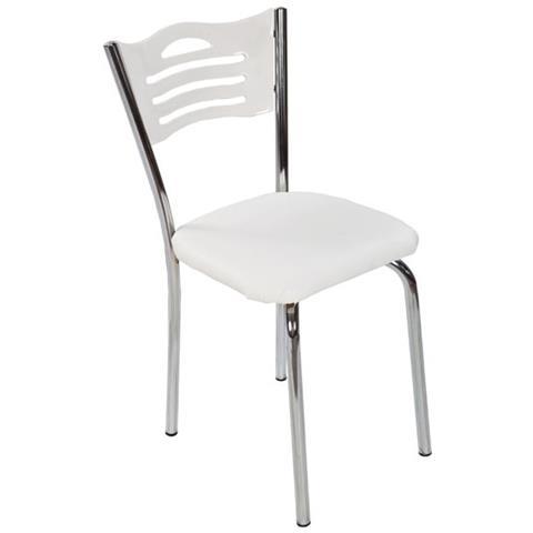 ARGONAUTA Sedia Con Struttura In Metallo E Seduta In Ecopelle Bianca 42x42xh. 85 Cm