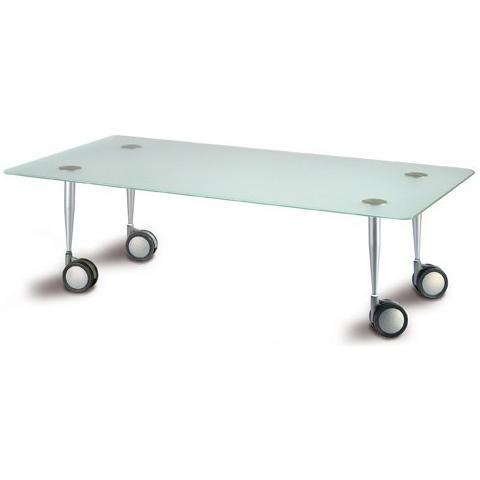Tavolino Da Salotto Con Rotelle.Bianco Tavolino Da Salotto Mod 7500 Con Gambe In Metallo Verniciato Con Rotelle E Piano In Cristallo Acidato 110x55x33cm Cod 06515