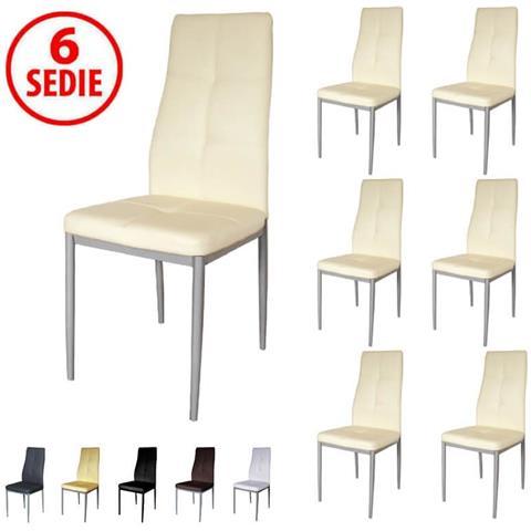PRATIKO - Set 6 Sedie In Ecopelle Imbottite Moderne - Panna - ePRICE