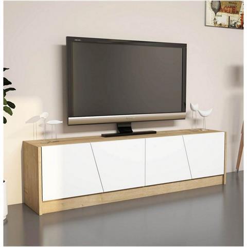 Homemania Mobile Porta Tv Cd Ripiani Supporto Gold Legno Chiaro Bianco-casa  Arredo Design - Per Soggiorno - Porta, Mensole, Ripiani, Supporto, ...