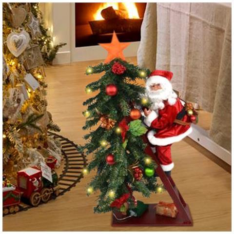 Albero Di Natale Con Le Foto.Bakaji Albero Di Natale Luminoso 15 Led Giallo Con Babbo Natale Su Scala Altezza 75cm Eprice