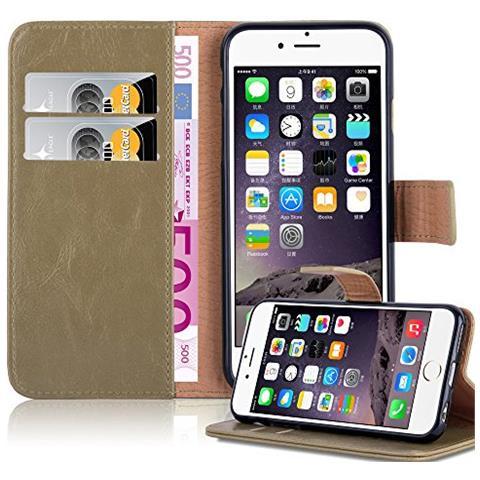 Cadorabo Custodia Libro Per Apple Iphone 6 Plus / iphone 6s Plus In Cappucino Braun - Con Vani Di Carte, Funzione Stand E Chiusura Magnetica - ...