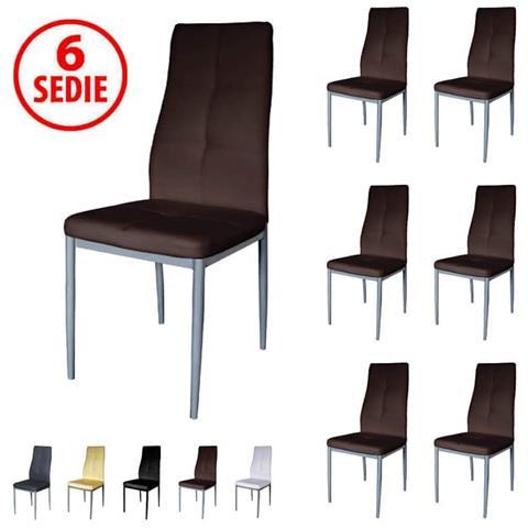 PRATIKO - Set 6 Sedie In Ecopelle Imbottite Moderne - Testa Di Moro ...