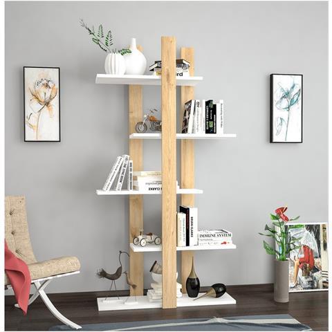 Mensole Per Libri Design.Homemania Libreria Scaffale Con Ripiani Mensole Libri Denbi