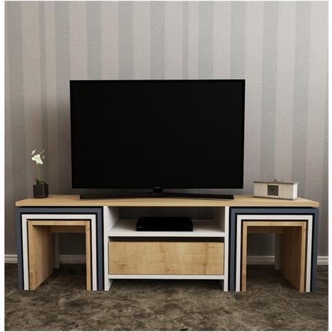 Homemania Mobile Porta Tv Cd Ripiani Supporto Zygo Legno Chiaro Bianco  Antracite-per Soggiorno - Porta, Mensole, Ripiani, Supporto, Componibile