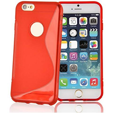 Cadorabo Apple Iphone 6 / Iphone 6s Custodia Silicone Tpu Disegno S In Rosso Cremisi Morbida Cover Protettiva Super Sottile Con Bordo Protezione Back ...