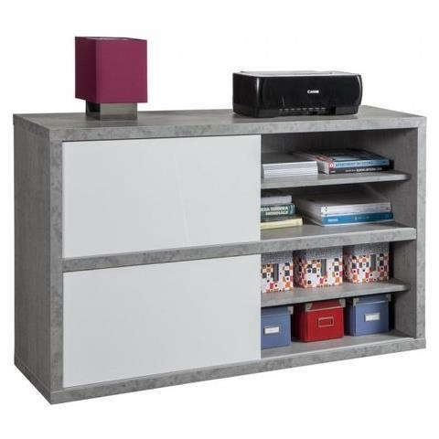 Composad Mobile Multiuso Pratico A Due Ante Scorrevoli Color Cemento E  Laccato Bianco Lucido Cm 140x35,5x87 - Bs0748k56104