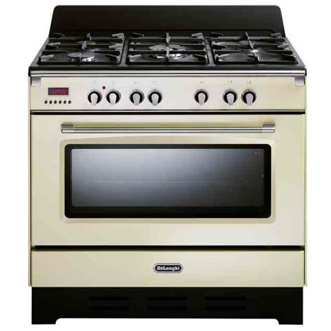 DE LONGHI Cucina Elettrica MEM 965 BA 5 Fuochi a Gas Forno Elettrico  Dimensione 90 x 60 cm Colore Beige