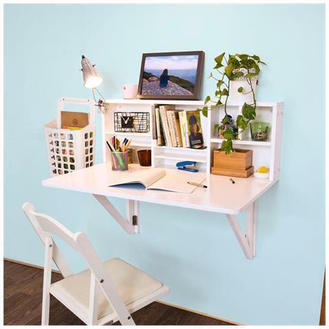 Tavolo A Muro Richiudibile.Sobuy Scrivania Pieghevole Tavolo Da Muro Con Libreria Bianco