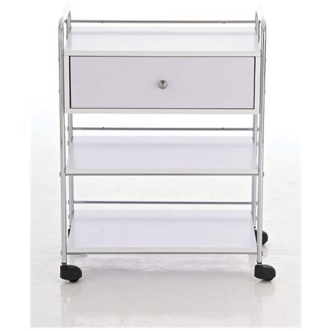 Mendler Carrello scaffale Porta Tutto Estetista CP304 3 Ripiani 82x58x44cm Bianco
