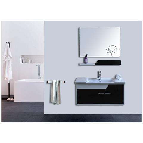 Loyalprice - Mobile Bagno Pensile Design Bianco Nero Da 90 Cm ...