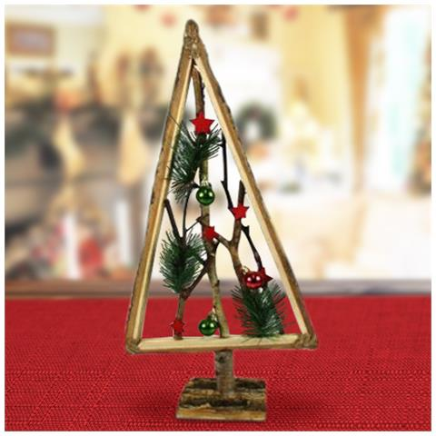 Albero Di Natale In Legno.Bakaji Albero Di Natale In Legno Con Rametti E Palline Rosso 58cm Decorazioni Natalizie Eprice