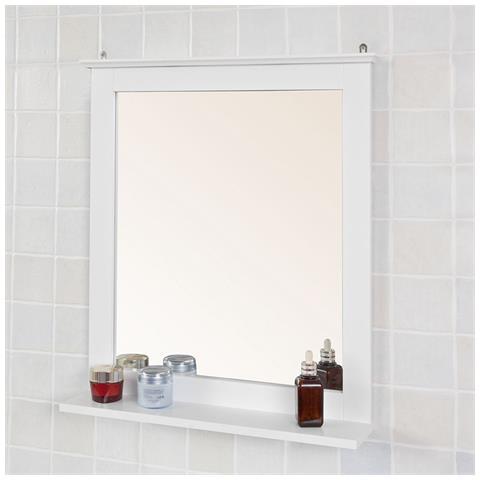 SoBuy - Xl Specchio Bagno Con Ripiano, Pensile Bagno, bianco, Frg235 ...