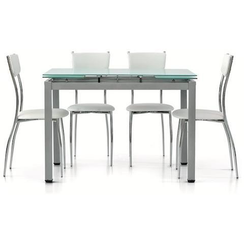 Tavolo In Vetro Bianco Allungabile.Fashion Commerce Tavolo In Metallo Grigio Con Piano In