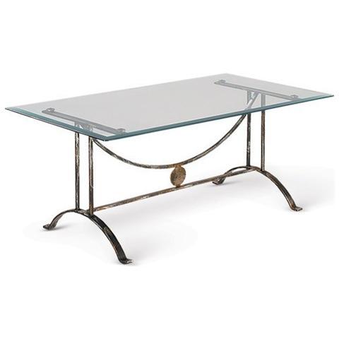 Tavolini Da Salotto In Ferro Battuto Prezzi.Bianco Tavolino Da Salotto Mod 3010 Base In Ferro Battuto E Piano In Cristallo Molato Cod 06420
