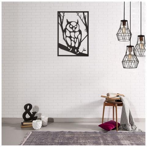 Homemania Decorazione Da Parete Gufo Nero In Acciaio - Arte Casa Decoro -  Per Soggiorno, Ufficio, Camera Da Letto