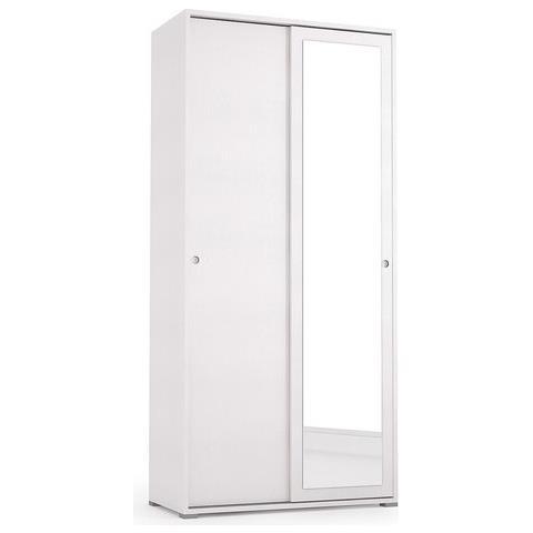 Armadio Specchio 2 Ante.Terraneo Armadio Slide 2 Ante Scorrevoli Una A Specchio Con Doppio Ripiano In Colore Bianco Cm 90x194x45 El115 1 B Eprice