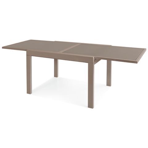 Tavolo Con Piano In Vetro.Global Trade Tavolo Allungabile Cm 90 180 Con Piano In Vetro Temperato Tortora