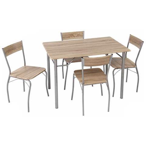 Sedie Metallo E Legno.Argonauta Set Tavolo Con Quattro Sedie Metallo Legno Cm 70 X 110 X