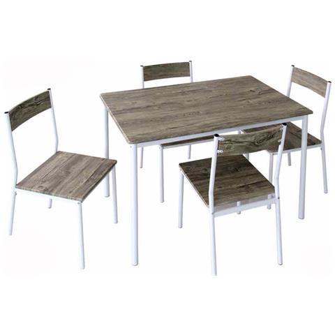 Tavolo Con Sedie In Legno.Argonauta Set Tavolo Con Quattro Sedie Metallo Legno Cm 70 X 110 X
