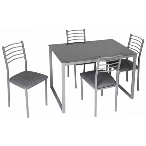 Sedie Per Tavolo In Vetro.Argonauta Set Tavolo Vetro Quattro Sedie Grigio Metallo Legno Cm