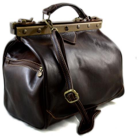 ShopSmart Borsa Donna Doctor Bag Vera Pelle Medico Handbag Manici E Tracolla Testa Moro