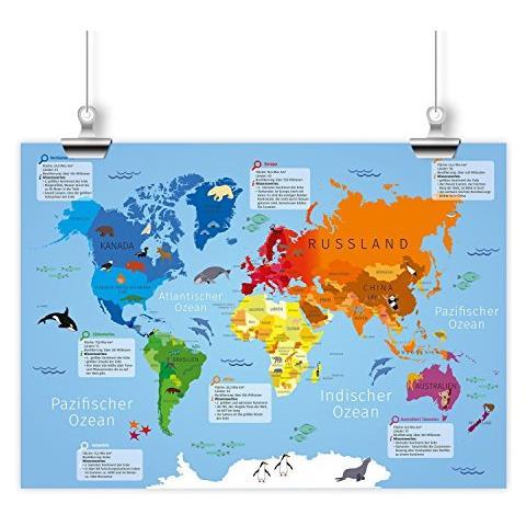 Cartina Degli Stati Del Mondo.Nikima Poster Per Bambini Con Mappa Del Mondo Per Scuola Materna Inizio Della Scuola Inizio Della Scuola Scuola Scuola Cartone Blu Din A2 594 X 420 Mm Eprice
