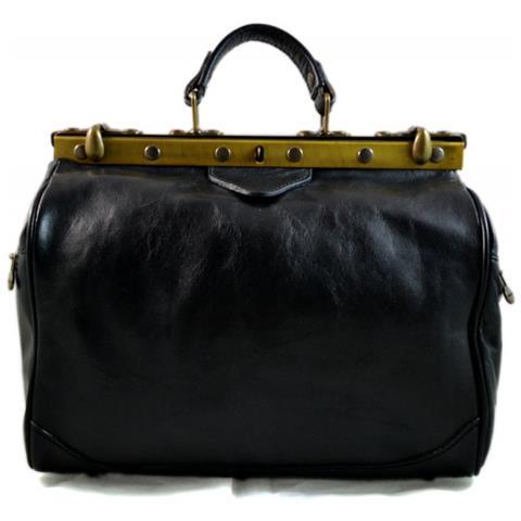 ShopSmart - Borsa Donna Doctor Bag Nero Vera Pelle Borsa Medico Handbag  Manici E Tracolla Nero - ePRICE 13f975c4e35