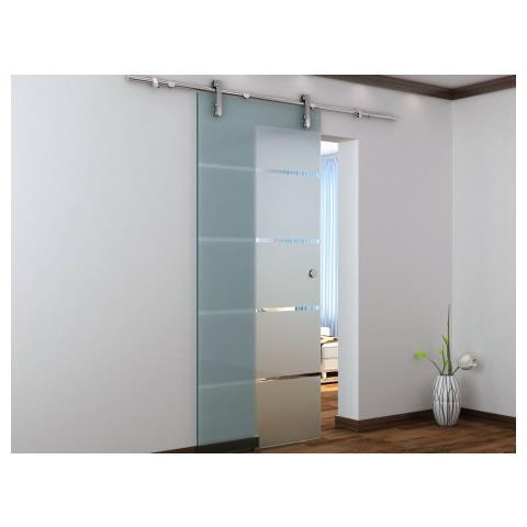 Vente-Unique - Porta Scorrevole Esterno Muro Glassy - H 205 X L 83 ...
