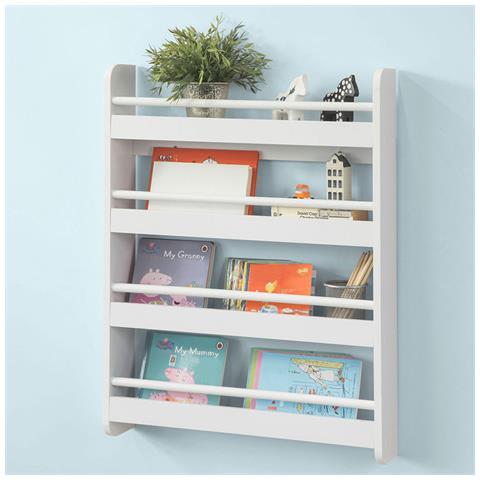 Libreria A Muro In Legno.Sobuy Libreria Bianca Legno Libreria A Muro Porta Libri Bambini 4