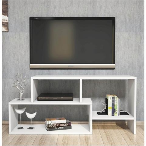 Homemania Mobile Porta Tv Cd Ripiani Supporto Clover Bianco Legno-casa  Arredo Design - Per Soggiorno - Porta, Mensole, Ripiani, Supporto,  Componibile