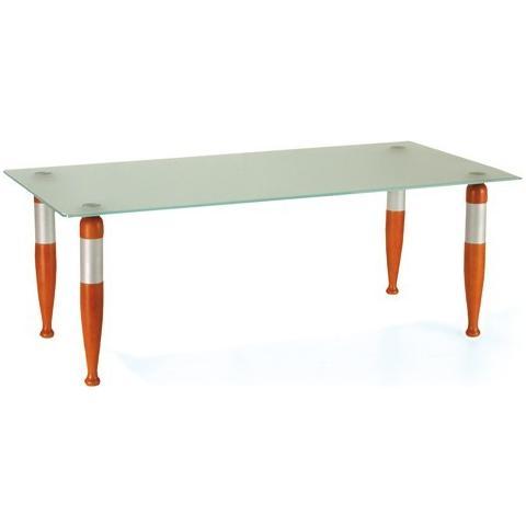 Bianco Tavolino Da Salotto Mod 470 Con Gambe In Legno Di Faggio E Metallo Piano In Cristallo Acidato 110x55x40cm Cod 06508 Eprice