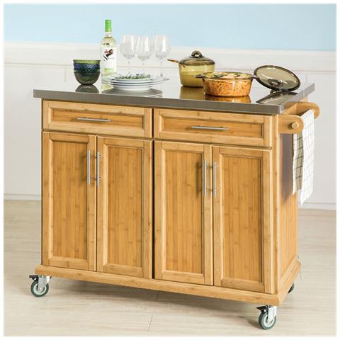 SoBuy - Carrello Cucina Credenza Legno Piano Lavoro Cucina Piano In ...