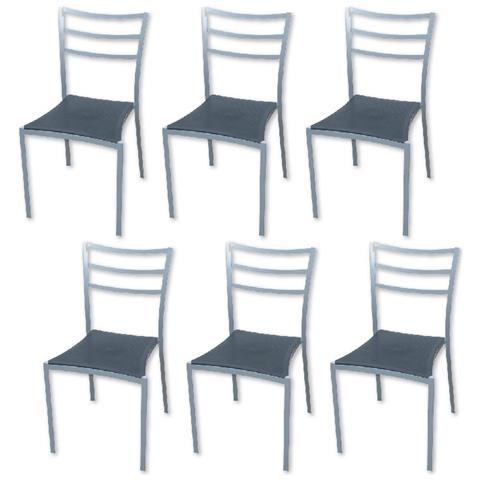 PRATIKO - Set 6 Sedie Per Cucina Sala D\'attesa In Ferro Grigio - ePRICE