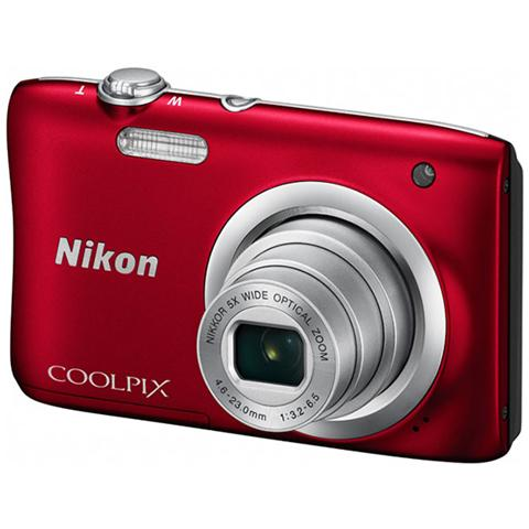 Coolpix A100 Rosso Sensore CCD 20.1Mpx Zoom ottico 5x Display 2.7
