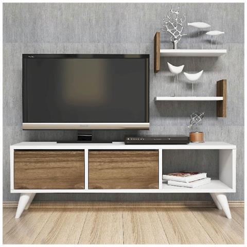 Homemania Mobile Porta Tv Cd Ripiani Supporto Foxy Bianco Legno Scuro-casa  Arredo Design - Per Soggiorno - Porta, Mensole, Ripiani, Supporto, ...