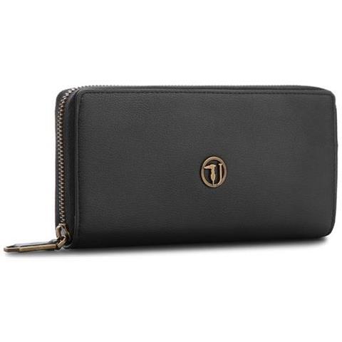 abac519256 TRUSSARDI JEANS - Portafoglio Donna Rabarbaro Ecoleather Zip Around Wallet  Black 75w000879y099999. k299 - ePRICE