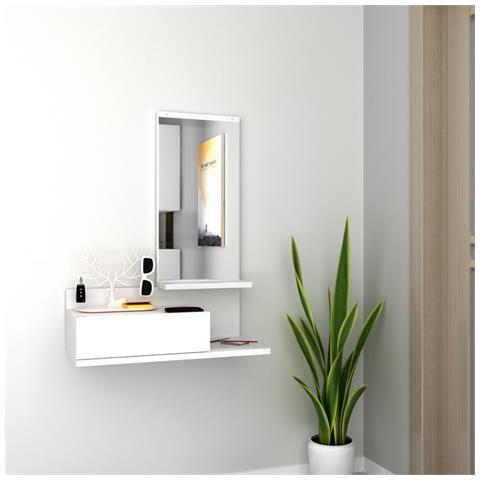 Homemania Mobile Ingresso Collezione Mode Bianco, in Laminato Melanimico e  PVC.